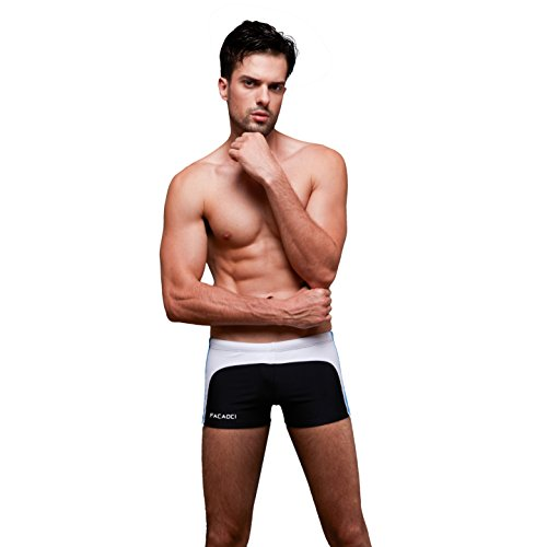 VENI MASEE Schwimmen Trunks schnell trocken Tight ideal für Strand schwimmen und Surfen 6 Farbe M-3XL Schwarz