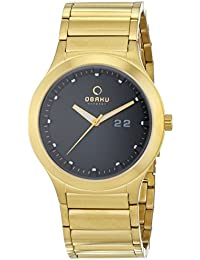Obaku Herren-Armbanduhr Analog Quarz Edelstahl beschichtet V115GGBSG