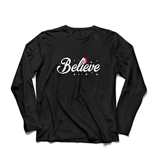lepni.me Langarm Herren T Shirts Glaube an das Wunder des Weihnachtsabends 2018 (X-Large Schwarz Mehrfarben)