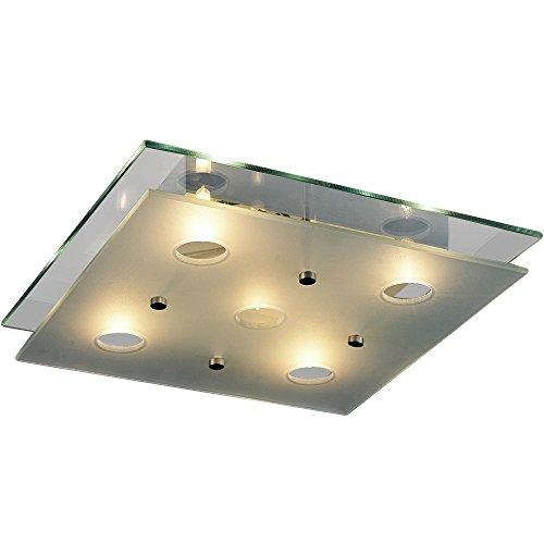Bakaji lampada da soffitto plafoniera quadrata con doppio vetro stile moderno classe a++ dimensione 38x38x7 cm