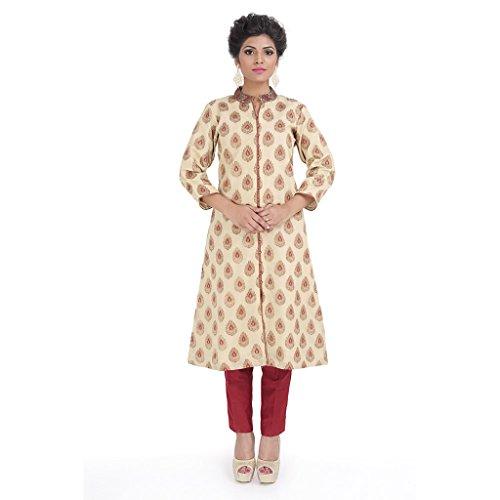 Manjushree Wear Women's Brocade Chanderi Sherwani Suit (MW122_Brown Red_X-Large)
