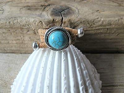 Bague turquoise en liège, bague liège, bague originale, bague perles, bague vegan, bague fantaisie, turquoise