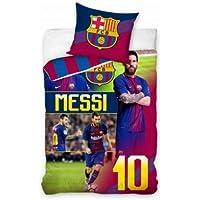Juego de funda de edredón y funda de almohada oficial de Lionel Messi & FC Barcelona (100% algodón)
