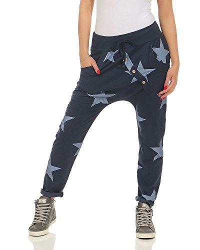 ZARMEXX señoras pantalón holgado de novio con botones pantalones deportivos pantalones de chándal de algodón pantalones de yoga pantalones sueltos ajuste corredores Big Star (azul, 36-40)