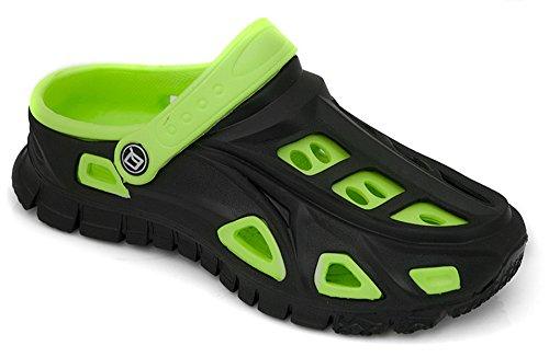 AQUA-SPEED® MIAMI Badepantoletten für Kinder u. Jugendliche (Größen 24-35 Clogs Swimmingpool Fixierschlaufe Ventilationslöcher), Farbe:Schwarz-Grün;Schuhgröße:30