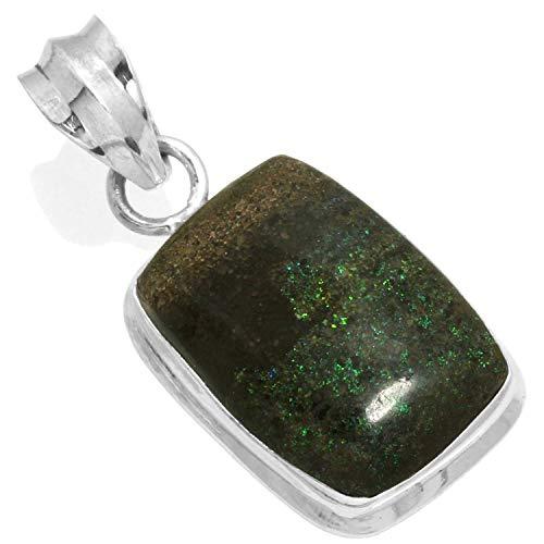 Jeweloporium Solide 925 Sterling Silber Anhänger Natürliche Honduras Schwarz Matrix Opal Edelstein Handgefertigte Schmuck (Honduras Silber Schmuck)