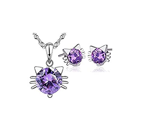 Most Beloved 925 Sterling Silver Purple Cat Pendant Necklace Stud Earring Cubic Zirconia Jewelry Sets by Most