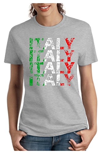 OM3 - ITALY - Damen T-Shirt tailliert - ITALIEN WM 2018 Russland Fussball World Cup Soccer Fanshirt Moskau Sport Trikot Champion, XXL, Grau Meliert (Italien World-cup-champions)