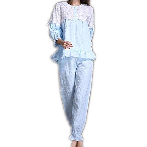 GJX Lady automne manches longues pyjama coton vêtements de nuit maison vêtements Blue