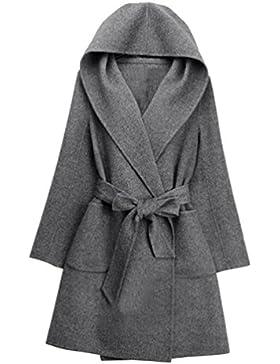YuanDian Mujer Chaqueta Con Capucha Cinturón Chaqueta Manga Larga Color Sólido Moda Abrigo