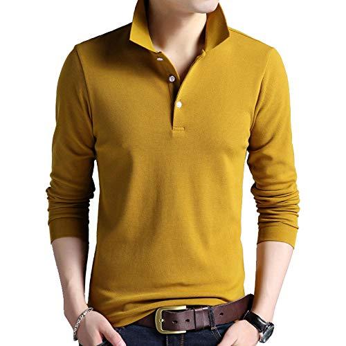 NISHISHOUZI Herren Polo Langarm, Polo Shirt, Polos,Gelbe Herrenmode Poloshirt Farbe Wärme - Slim Anti Pilling Langarm Mercerized Cotton Casual Polo Shirt Mens @S -