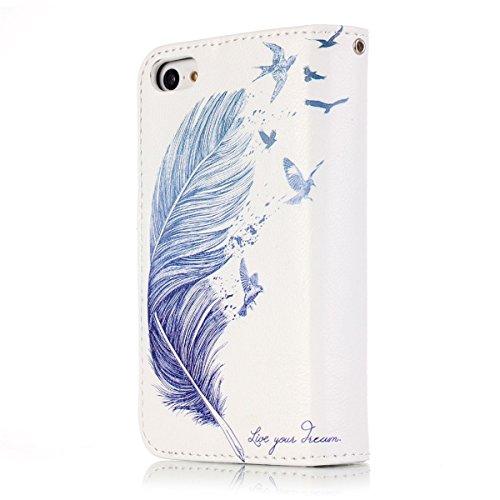 iPhone 5S Coque, iPhone SE Coque, Lifeturt [ Pivoine ] Leather Case Wallet Flip Protective Cover Protector, Etui de Protection PU Cuir Portefeuille Coque Housse Case Cover Coquille Couverture avec Fon E02-Blue Feather