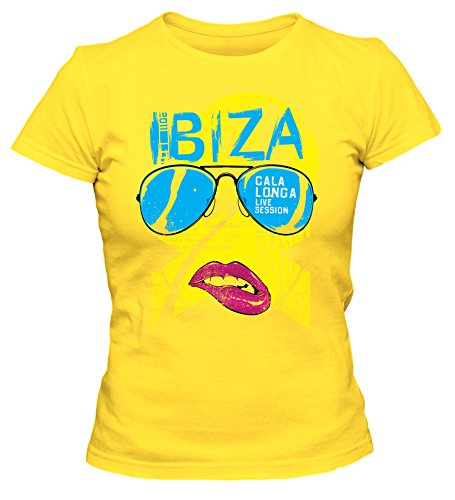 Ibiza Cooles Party Damen T-Shirt_gelb_S (Gelben T-shirt Biss)