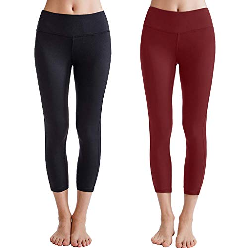 VJGOAL Yogahosen für Damen 3/4 Kurz High Waist Leggings Freizeit Einfarbig Running Sport Women Yoga Pants