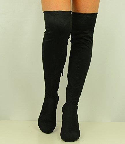 Cucu Fashion ,  Damen Durchgängies Plateau Sandalen mit Keilabsatz Schwarz