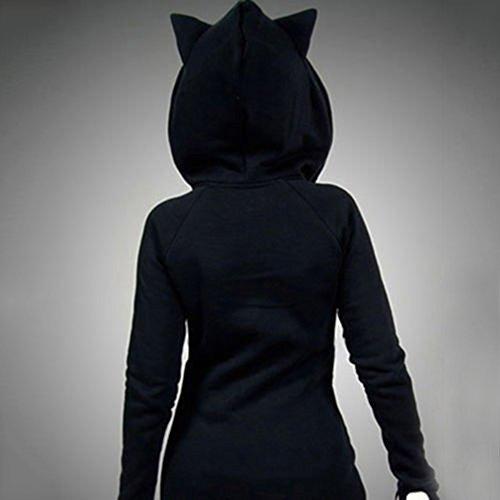 Dihope Femme Printemps Automne Sweat à Capuche de Chat Sweater Casual Hoodie Sweat-shirt Mode Top Manches Longues Veste Noir