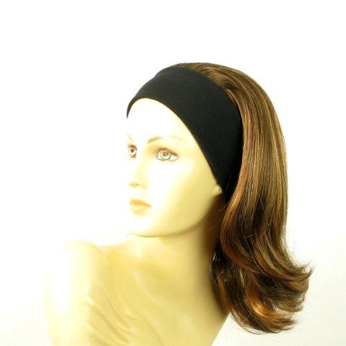 perruque femme bandeau mi-longue lisse chocolat méché cuivré clair ref: xena 627c