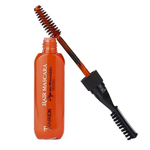 Teinture Pour Cheveux,OverDose Couleur Temporaire 13 Couleurs Colorista Washout Mascara Hair Dye Cream Non-Toxic DIY Hair Dye Pen (Orange )