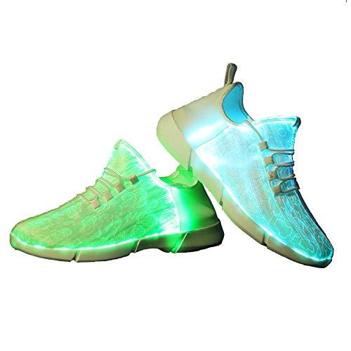 Idea Frames LED Laufschuhe Atmungsaktive Fabric Nacht Sportschuhe 7 Farben Leuchtende Schuhe Damen Herren mit USB Ladegerät Weiß 37 EU
