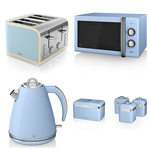 Swan Kitchen Appliance Retro Set - 25l Blue Microwave, 1.5l Jug Kettle, 4 Slice Toaster, Retro Breadbin And 3 Canisters Set