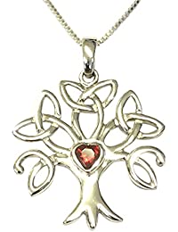 [Sponsored]Sterling Silver Celtic Trinity Tree of Life Birthstone Necklace - July - GIFT BOXED