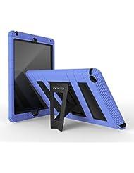 MoKo Apple iPad Air 2 Funda - [Pata de cabra] [A prueba de lluvia] Durable hibrida silicona + Negro duro policarbonato [Shock-Absorción] con soporte plegable protector funda para Apple iPad Air 2 (iPad 6) 9.7 Inch iOS 8 Tablet, AZUL