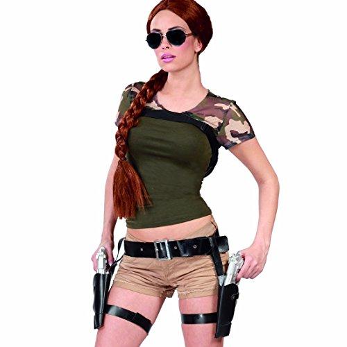 Doppelter Pistolenhalfter Lara Croft Holster mit Pistolen Pistolenholster Revolver Cowboykostüm Pistolengurt Western Pistolengürtel Faschingskostüm Zubehör (Die Jägerin Kostüm)