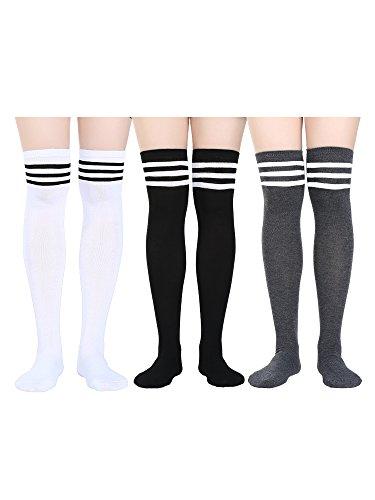 Satinior Damen Knie Hohe Socken Hohe Oberschenkel Strümpfe mit Bunte Streifen für Cosplay, Halloween, Party, Tägliches Tragen, Eine Größe (Mehrfarbig 1, 3 Packung) (Knie Hoch)