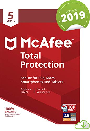McAfee Total Protection 2019 | 5 Geräte | 1 Jahr | PC/Mac/Smartphone/Tablet | Download [Online Code]