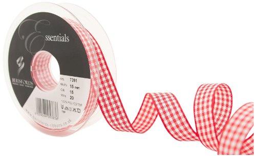 Berisfords 7391 nastro in percalle a quadretti tradizionali 20 m x 15 mm, rosso