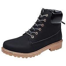 showsing Chaussures Homme en Daim Couleur Unie Bout Rond Chaussures compensées Garder au Chaud (40.5 EU, Noir)