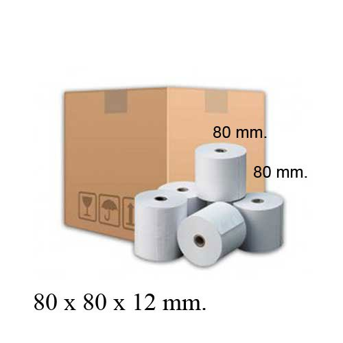 Rollos papel térmico 80x80x12 caja 48 unidades