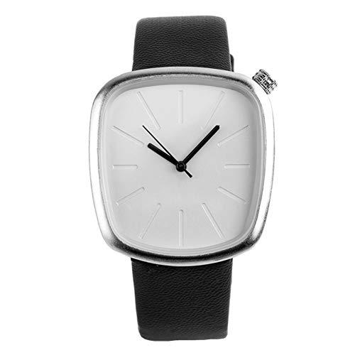XuBa Stilvolle Unisex-Quarzuhr mit quadratischem Zifferblatt, Elegante Armbanduhr, Ornament, Geschenk White Dial with Black Band