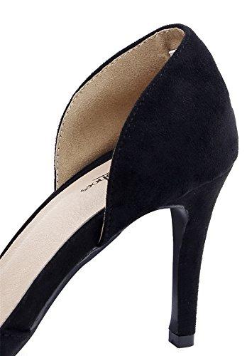 AgeeMi Shoes Damen Spitz Zehe Stiletto Wildleder Schuhe Party Schuhe Damen Schwarz