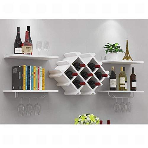 H&h stendibiancheria da parete moderno appeso portabottiglie da vino appeso portabottiglie vino rosso cremagliera, bianco,bianca,taglia unica