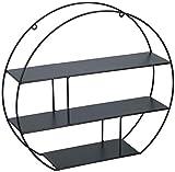 Spetebo Metall Wandregal schwarz 39x35,5 cm - 3 Böden - Design Schweberegal Hängeregal