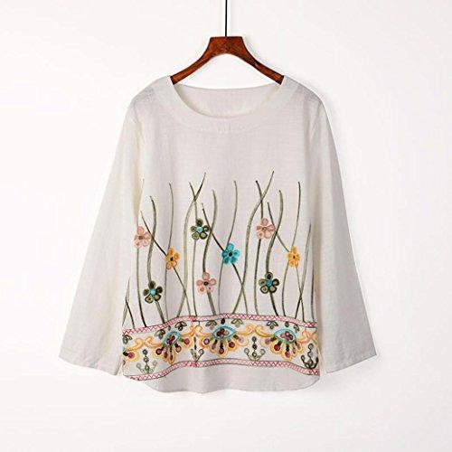 Sweats à capuche femme❤️zahuihuiM Mode Femmes Dames À Manches Longues Broderie Blouse Tops Vêtements T-shirt Blanc