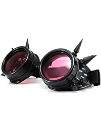4sold (TM) Cyber Goggles Black with Cyber Spikes Steam Punk Rave Goth like Sunglasses Includes FREE set Lense Design Inserts and welding lenses black. clear and brown (black)