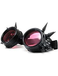 4sold (TM) Cyber gafas negro con Cyber picos de vapor Punk Rave gótica como gafas de sol incluye inserciones de diseño y 3 lentes lente set negro claro y marrón, negro, b-1