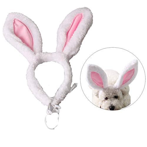 StyleZ Haarband mit Hasenohren und Kopfschmuck für Katzen Welpen Hunde Weihnachten Ostern Valentinstag Party Kostüm, L, weiß