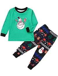 FRAUIT Familiares Ropa de Dormir Traje a Juego de Navidad Mujer Hombre Bebé Niño Niña de Pijamas Navidad niño pequeño Manga Larga de Dibujos Animados muñeco de Nieve Estampado Mameluco Ropa Familiar