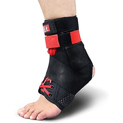 Kuangmi con cordones tobillo brace correa de estabilización de con 1pieza, Large(pack of 2)