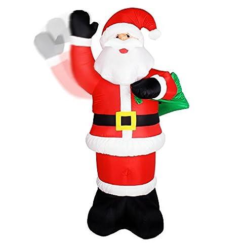 XXL Singender LED Weihnachtsmann animiert mit winkendem Arm (240 cm hoch)~WINKENDER~INFLATABLE!~SELBSTAUFBLASEND~LED BELEUCHTET+12V GEBLÄSE INKL. NETZTEIL 220 V ~AIR BLOWN~WEIHNACHTSDEKO~AIRBLOWN~AUFBLASBAR~WOW~IP44