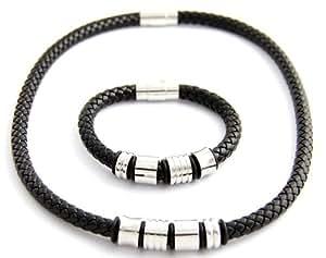 Parure Collier Bracelet Homme Cuir Noir M H 220