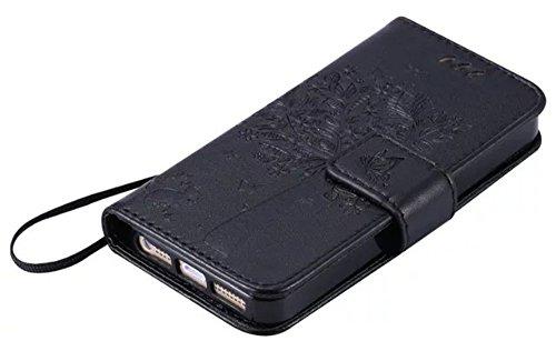 Nnopbeclik® [Coque Iphone 5S silicone/Coque Iphone 5 silicone/Coque Iphone SE silicone]Flip Case Portefeuille en Bonne Qualité PU Cuir Housse pour Iphone 5 Coque silicone/Iphone 5S Coque silicone/ Iph noir
