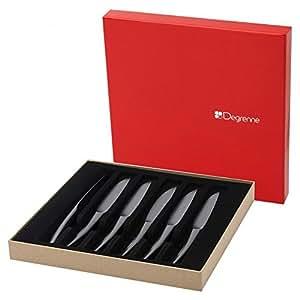 Guy Degrenne 206297 Coffret de 6 Couteaux de Table/Steak Monobloc Lame Unie