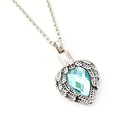 Zahara Pet Memorial Urn Necklace (20 Inches) with Velvet Pouch & Funnel | Angel Heart Aquamarine Pendant + Chain 1