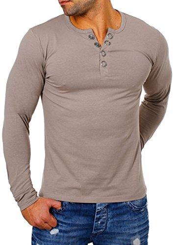 Young & Rich Herren Longsleeve Langarm T-Shirt Knopfleiste mit Extra Großen Metall Knöpfen Slimfit Big Buttons 2872, Grösse:L;Farbe:Hellbraun