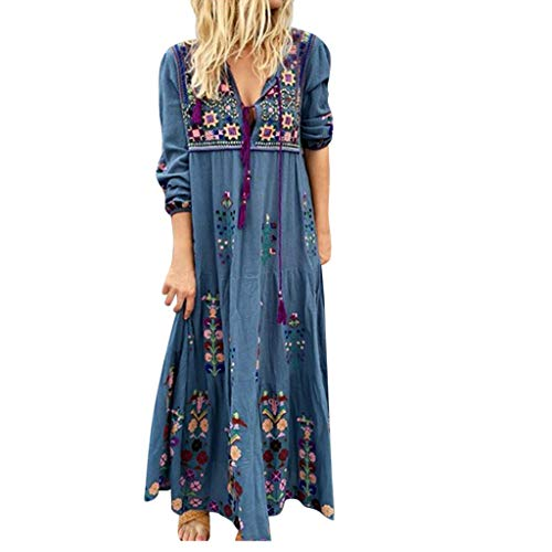 Damen Kleider Herbst Winter Langarm Beiläufige Lose Kleid Tie up Blumendruck Party Kleid Lässige Kleidung Abendkleid Partykleid Frauenkleid Kleid für Frauen Boho Kleid Lang Große Größen