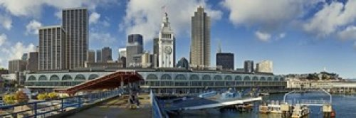 Panoramic Images - Ferry terminal with skyline at port Ferry Building The Embarcadero San Francisco California USA 2011 Photo Print (91,44 x 30,48 cm)